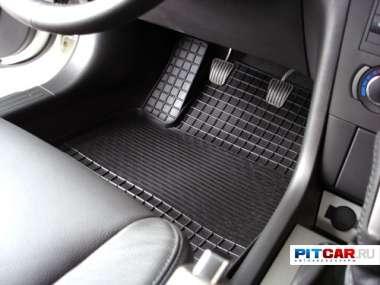 """Коврики в салон для Peugeot 206 (2007-), резиновые, рисунок """"Сетка"""", Seintex"""
