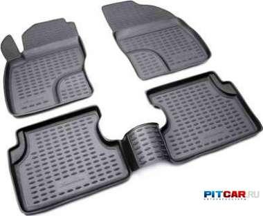 Коврики в салон для Chevrolet Spark (2011-), полиуретан, черный, Норпласт
