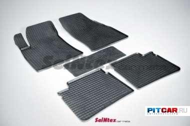 """Коврики в салон для Hyundai Sonata NF (2005-2010), резиновые, рисунок """"Сетка"""", Seintex"""