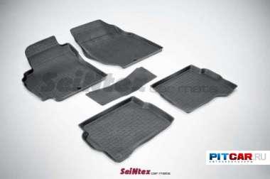 Коврики в салон для Nissan Almera Classic (2006-), резиновые с бортиками, Seintex