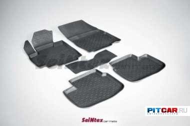 Коврики в салон для Suzuki SX4 (2006-), резиновые с бортиками, Seintex