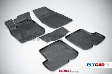 Коврики в салон для Renault Sandero (2008-), резиновые с бортиками, Seintex