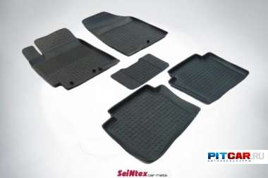 Коврики в салон для Hyundai Solaris (2011-), резиновые с бортиками, Seintex